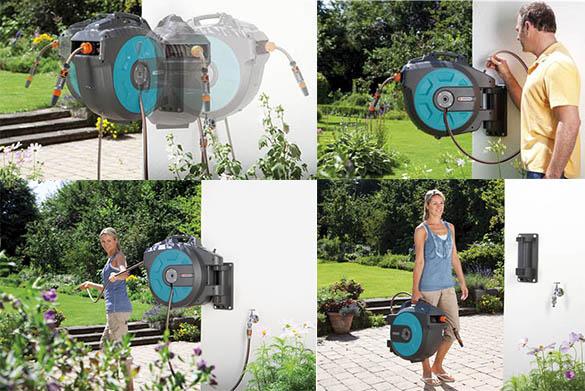 enrouleur de tuyau mural automatic roll up comfort gardena. Black Bedroom Furniture Sets. Home Design Ideas