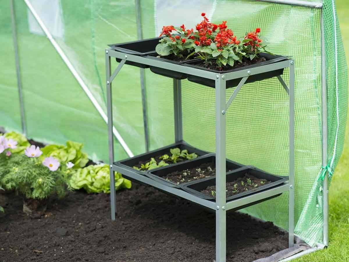Table rempoter en acier avec terrines jardideco for Table de jardinage en hauteur