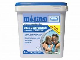 Chlore 4 actions galets 135 g pour piscine 10 m³ - 4,32 kg