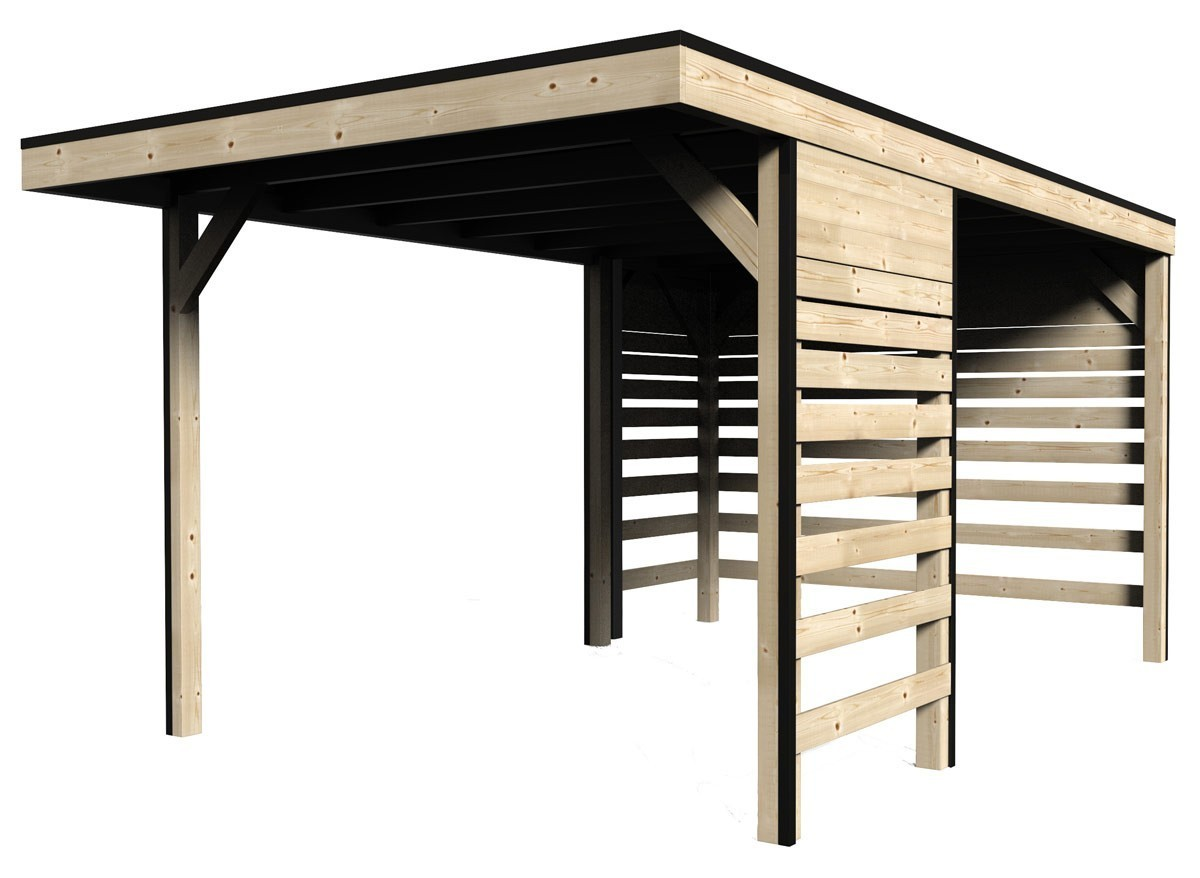 carport en bois massif avec parois 3 x m 13m. Black Bedroom Furniture Sets. Home Design Ideas