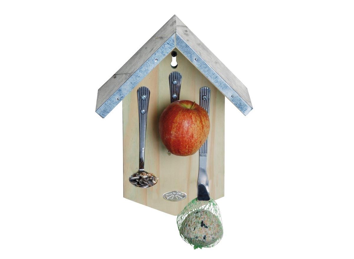 mangeoire bois avec couverts pour oiseaux jardideco. Black Bedroom Furniture Sets. Home Design Ideas