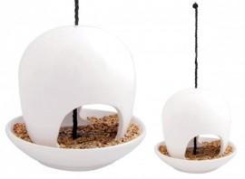 Mangeoire à oiseaux céramique blanche