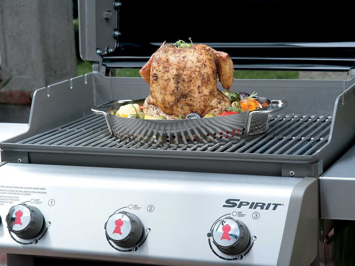 Plat de cuisson volaille gourmet system pour barbecue weber for Accessoires barbecue weber q140