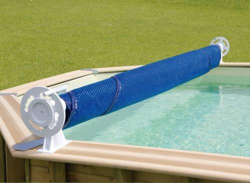 Enrouleur de bâche Luxe pour piscine hors-sol bois