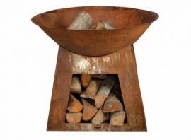 Cheminée d'extérieur vasque + stockage bois petit modèle