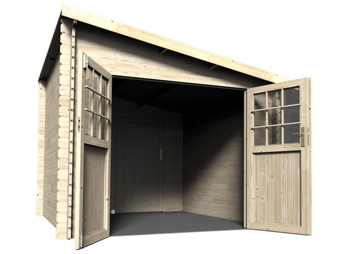 Abri de jardin bois mono pente 28 mm m jardideco for Abri de jardin bois 28mm