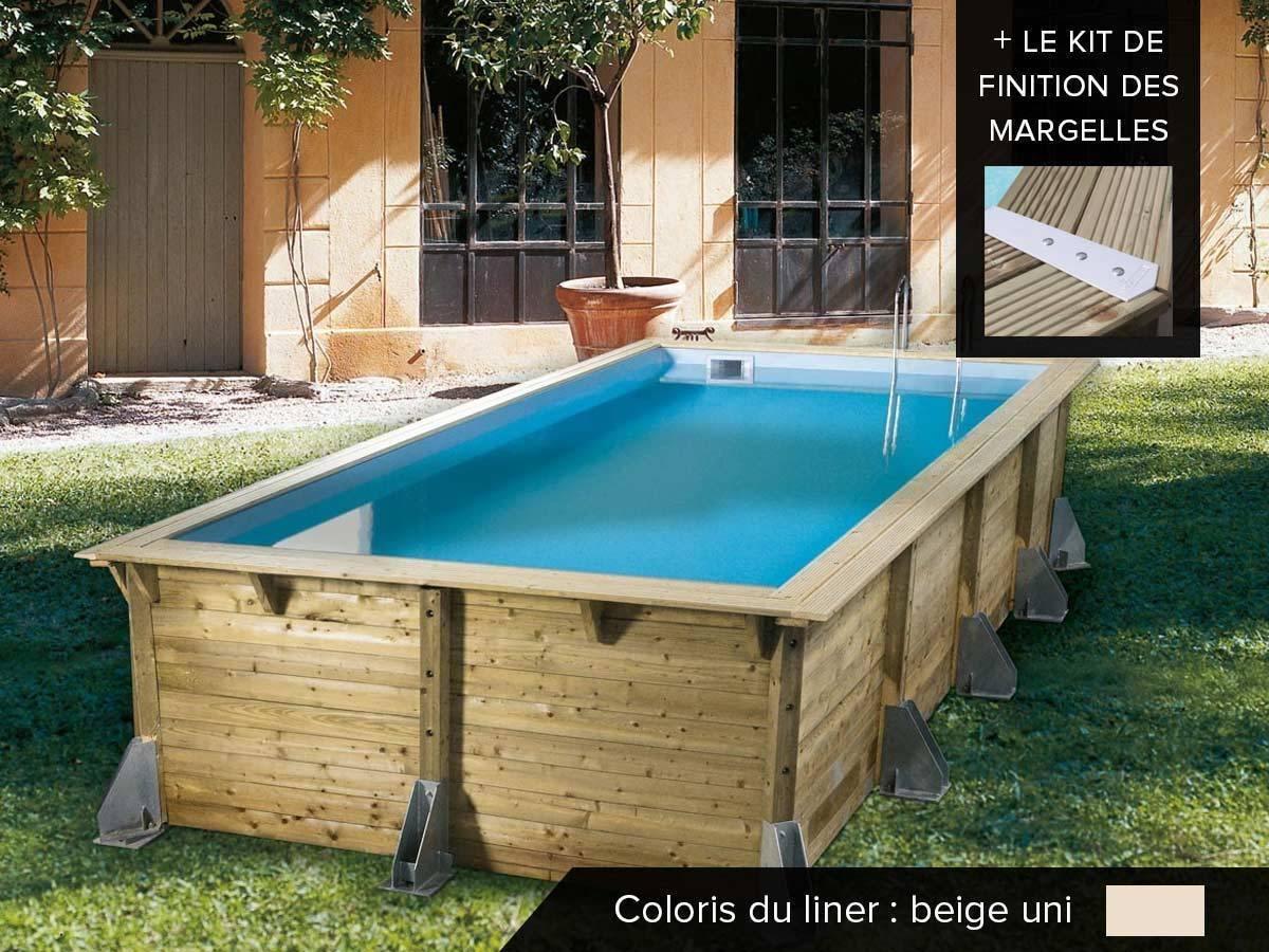 Piscine bois pas cher azura 5 05 x 3 50 x 1 26 m ubbink for Piscine bois 10m2