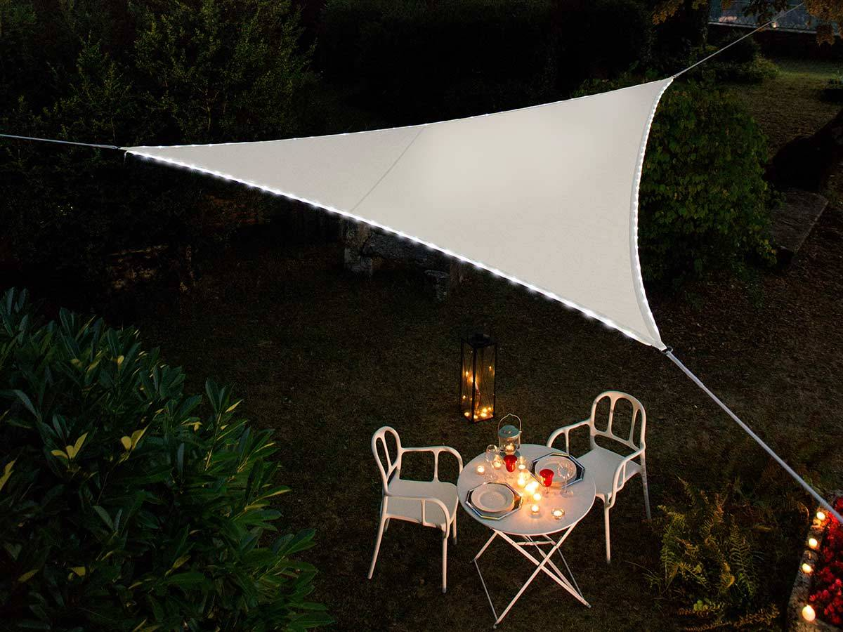 Voile D Ombrage 6 X 4 voile d'ombrage triangulaire à led alimentation solaire 3,6 m