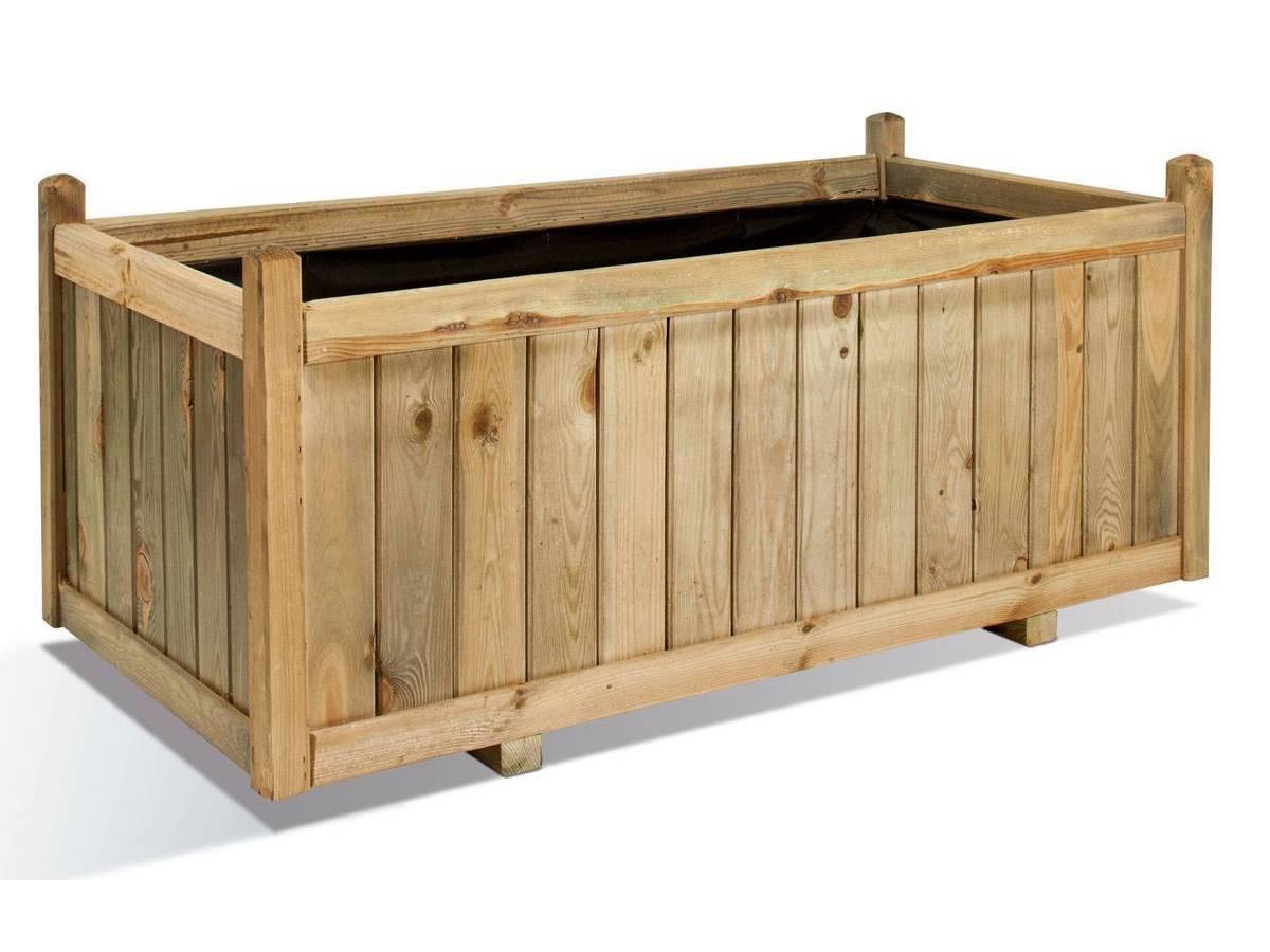Jardini re jardipolys en bois rectangulaire mod le vend me - Jardiniere en bois ...