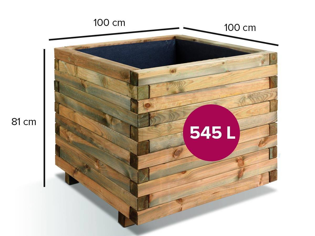 jardini re bois carr e jardipolys mod le stockolm petit prix. Black Bedroom Furniture Sets. Home Design Ideas