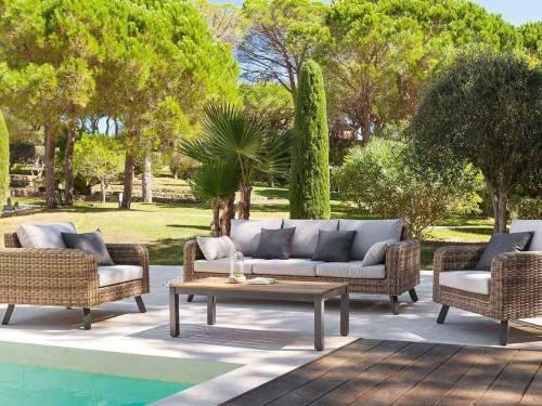 Grand choix de Salon de Jardin en résine tressée Hespéride à prix mini