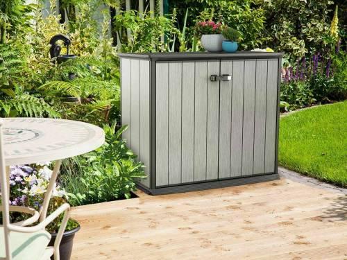 armoire de rangement keter ext rieure basse en r sine 1000. Black Bedroom Furniture Sets. Home Design Ideas