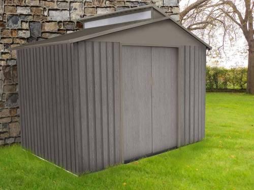 abri de jardin m tal aspect bois vieilli puit de lumi re taille au choix. Black Bedroom Furniture Sets. Home Design Ideas