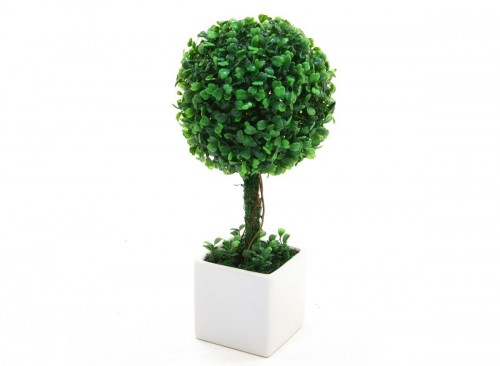 Boule de buis artificiel pot c ramique blanc hauteur 38 cm for Plante artificielle balcon