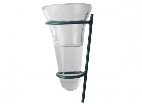Pluviomètre en verre avec support en métal vert