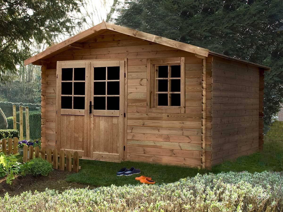 Abri de jardin madeira en bois trait 28 mm aloha 11 3 m for Abris de jardin bois traite