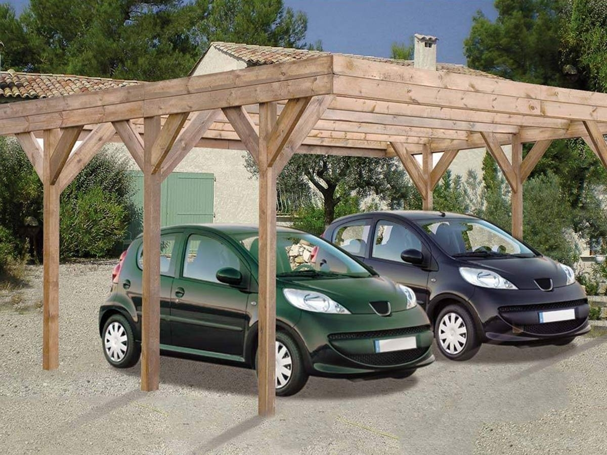 carport bois madeira enzo trait pour 2 voitures 30 9 m. Black Bedroom Furniture Sets. Home Design Ideas