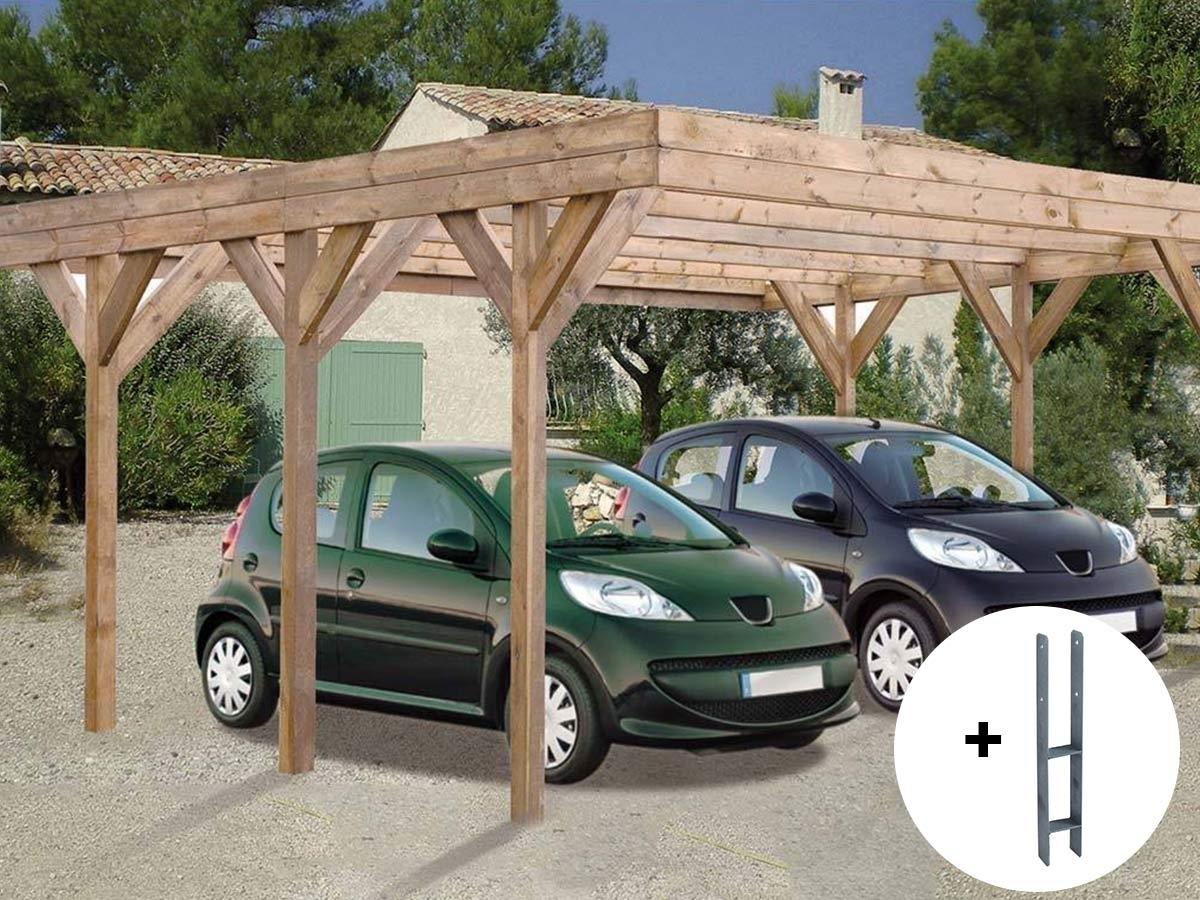carport bois madeira enzo trait pour 2 voitures 30 9 m. Black Bedroom Furniture Sets. Home Design Ideas