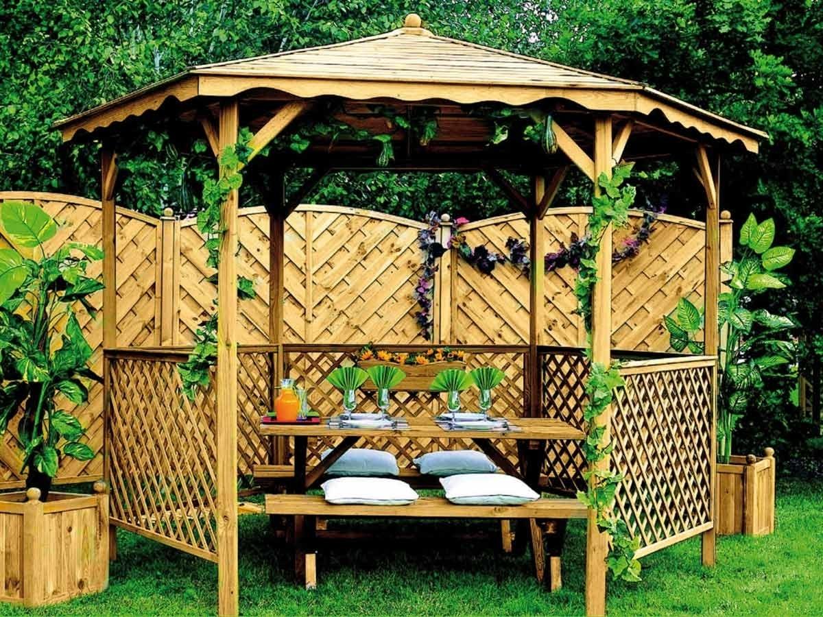 Tonnelle de jardin Lora avec toit bois | Jardipolys à petit prix