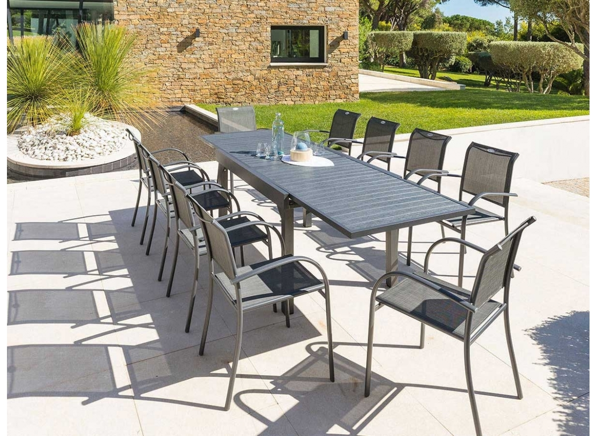 Table de jardin extensible composite Hesperide Piazza 8 à 10 places