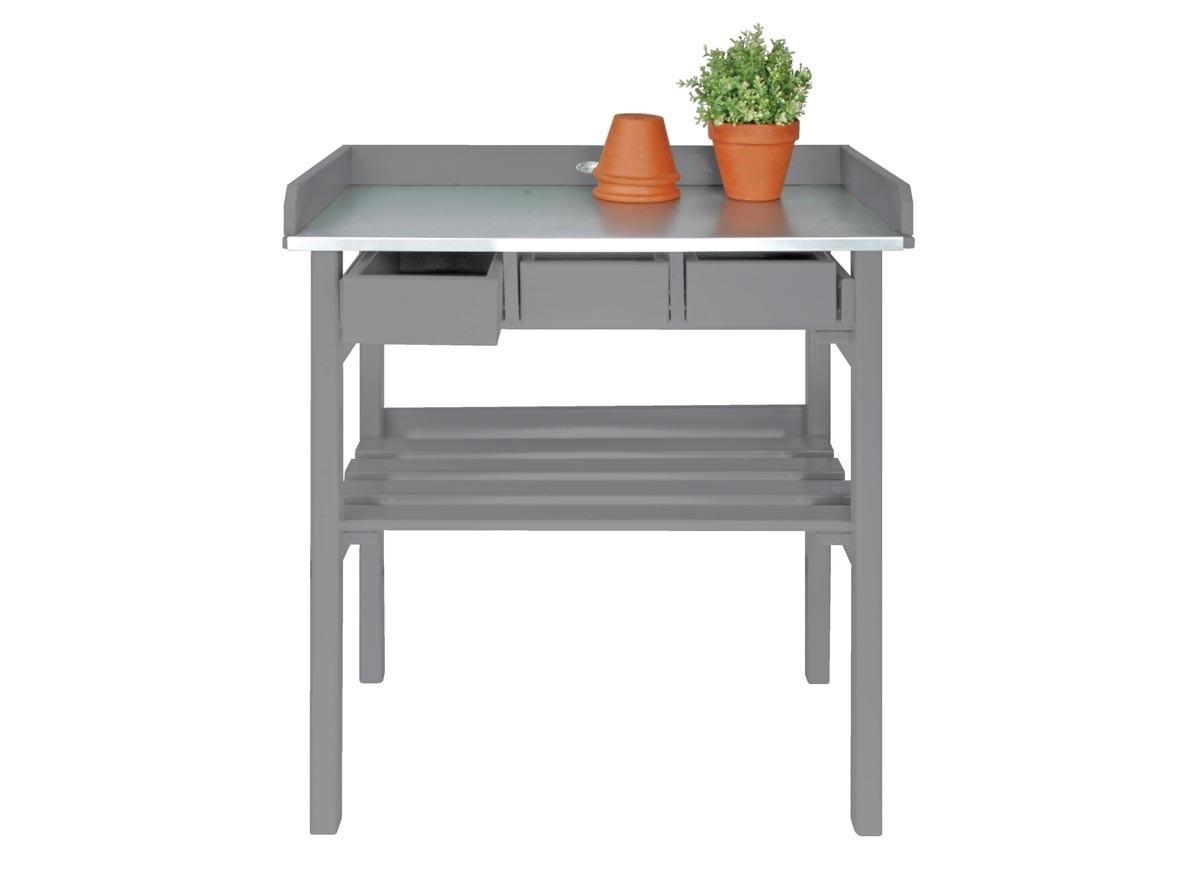 Table de rempotage sur lev e en bois gris jardideco - Table de jardinage en hauteur ...