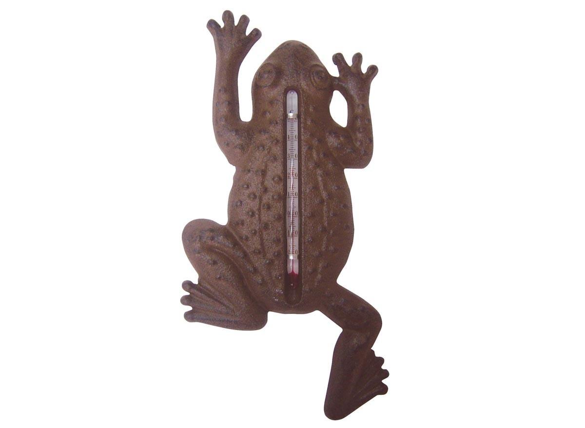Thermom tre de jardin grenouille en fonte 23 x 12 5 cm for Thermometre exterieur geant