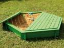 Bac à sable hexagonal en bois + Couvercle