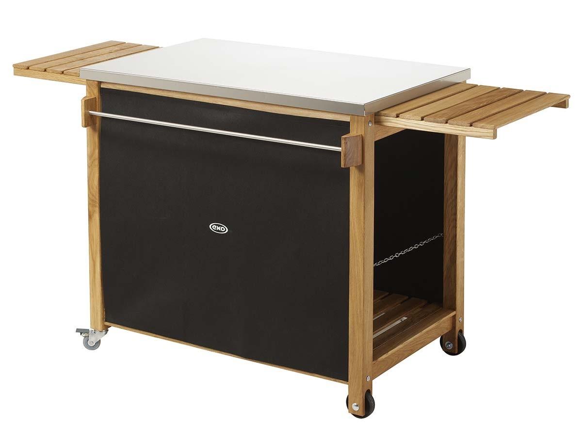 chariot pour plancha en bois et inox eno jardideco. Black Bedroom Furniture Sets. Home Design Ideas