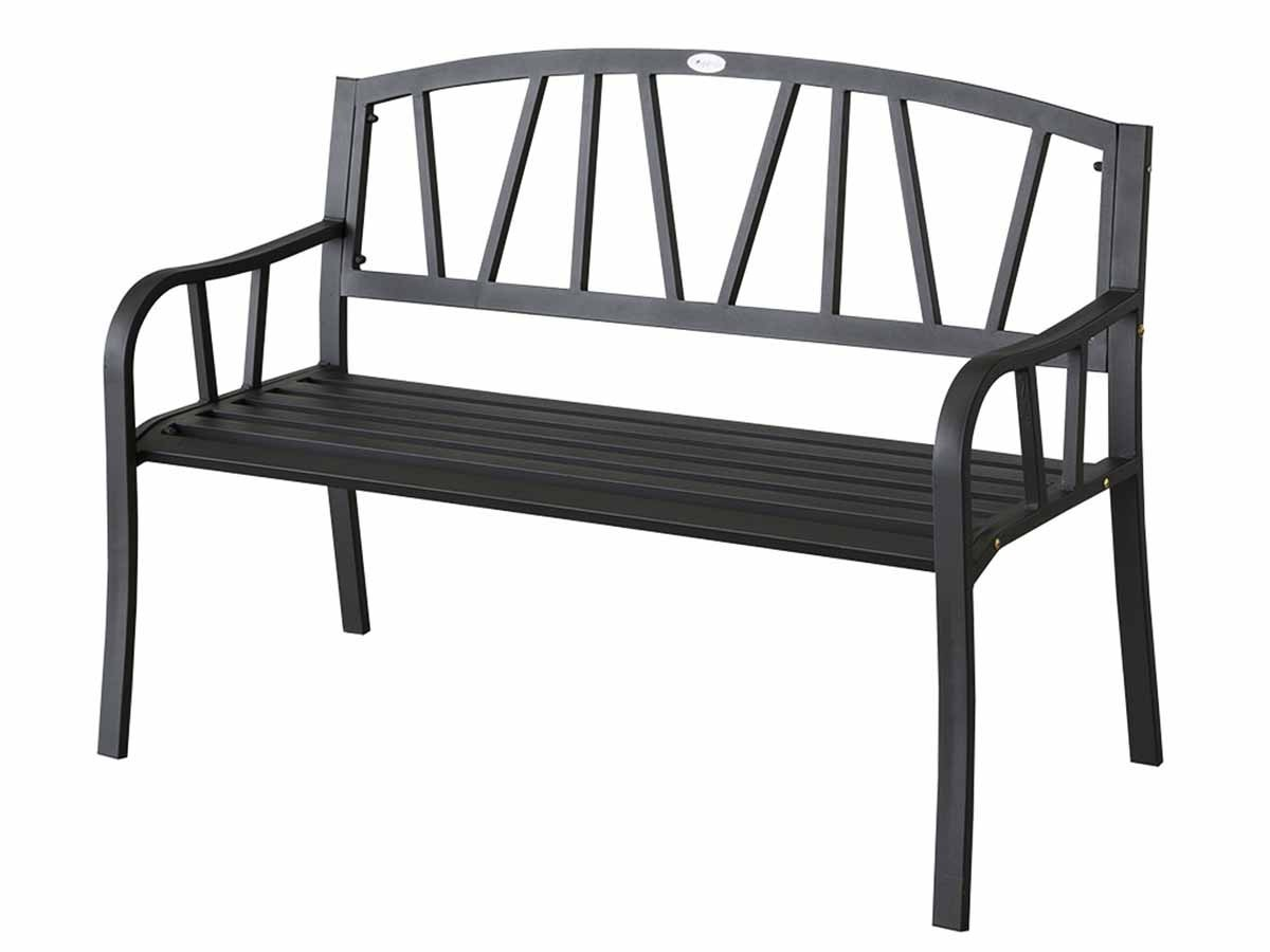 banc de jardin en m tal alvernia noir hesperide jardideco. Black Bedroom Furniture Sets. Home Design Ideas