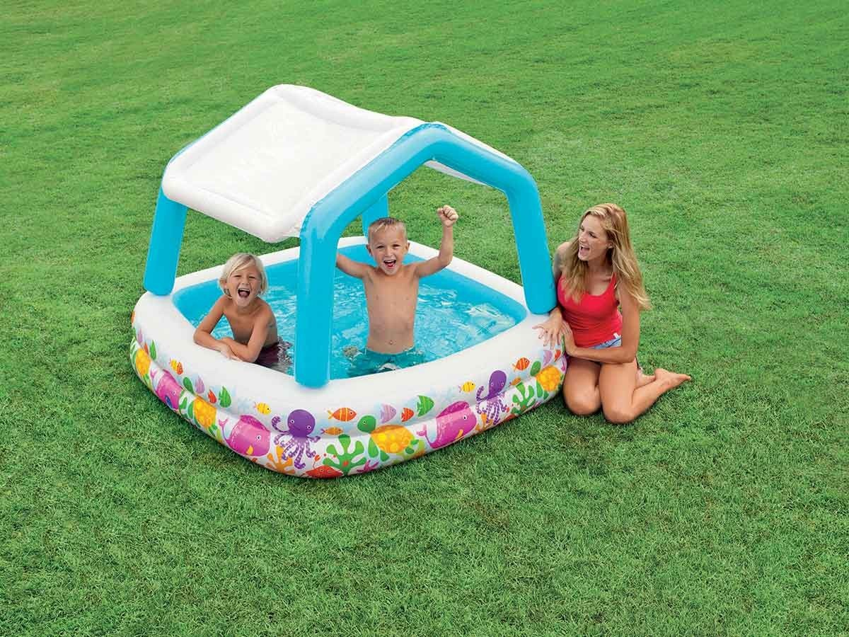 piscine gonflable pare soleil aqua intex pour enfant jardideco. Black Bedroom Furniture Sets. Home Design Ideas