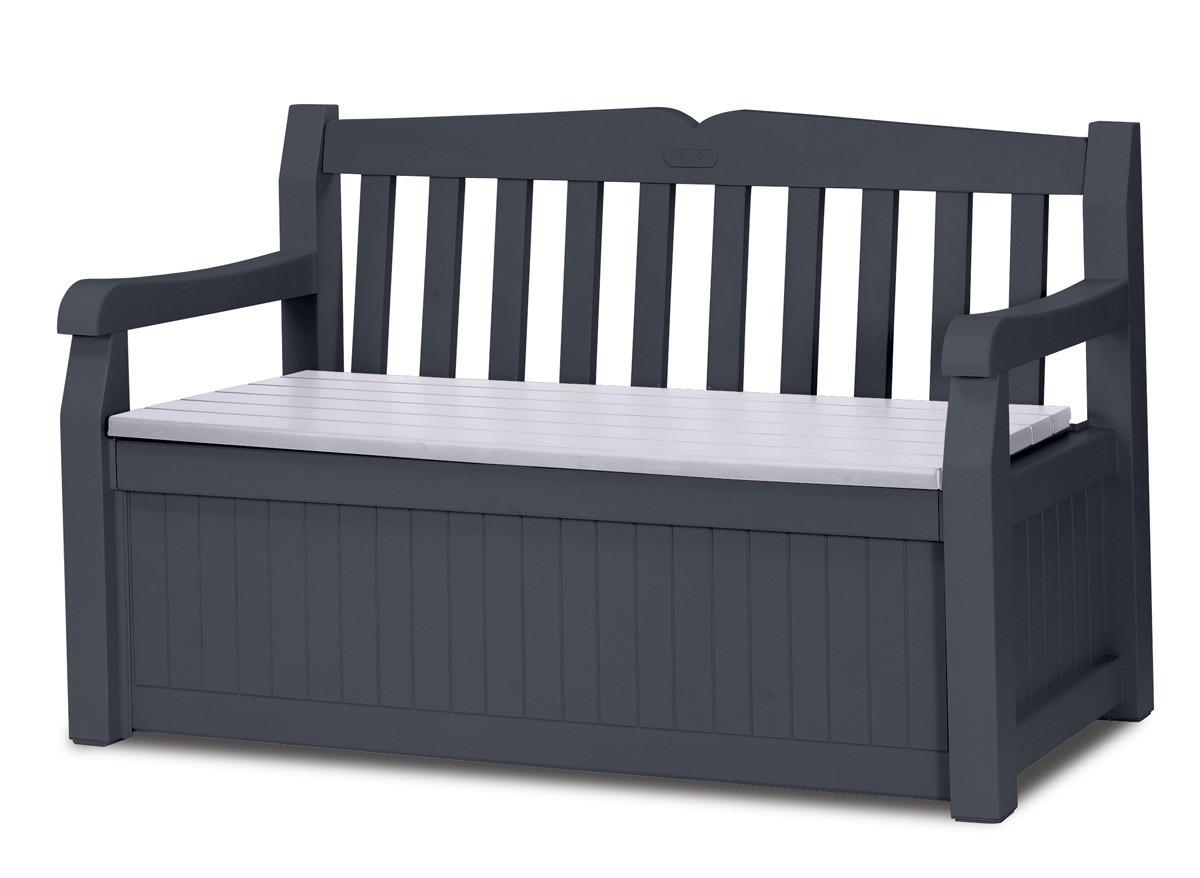 Banc de jardin avec coffre rangement gris anthracite for Mobilier de jardin gris anthracite