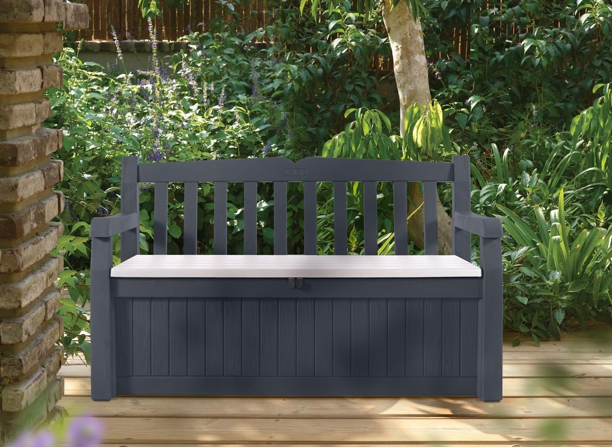 Banc de jardin avec coffre rangement gris anthracite for Banc exterieur avec coffre