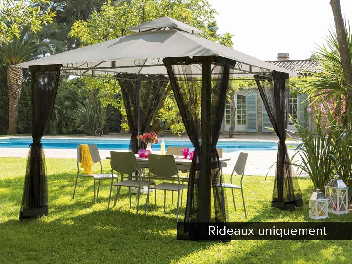 4 rideaux moustiquaires pour tonnelle hesp ride fogo. Black Bedroom Furniture Sets. Home Design Ideas
