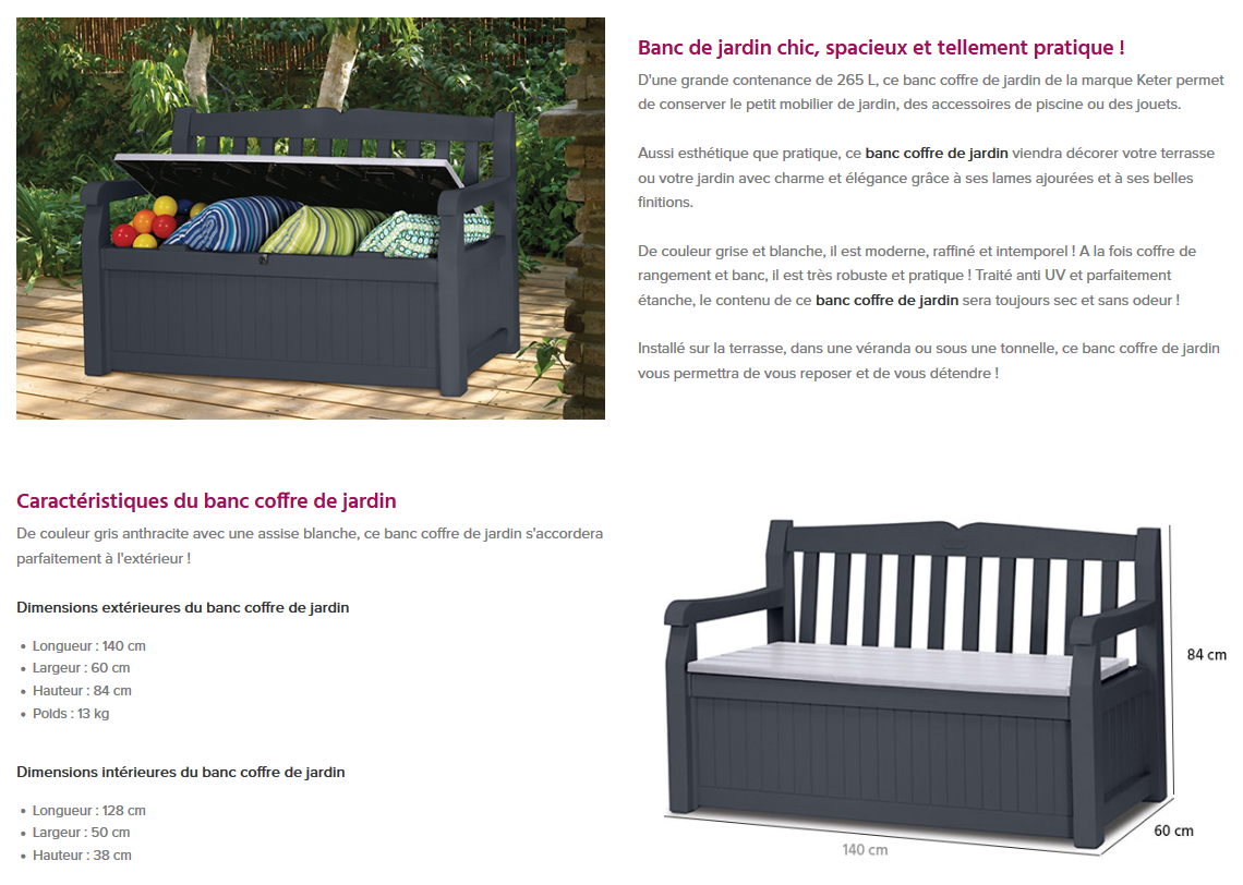 Banc Coffre 265 L Gris Anthracite Mobilier De Jardin Achat