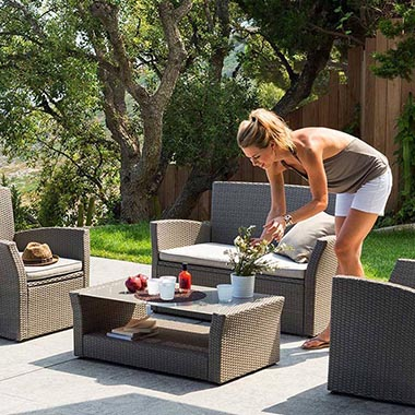 Grand choix de salon de jardin en r sine tress e hesp ride - Salon de jardin en resine seychelles hesperide ...
