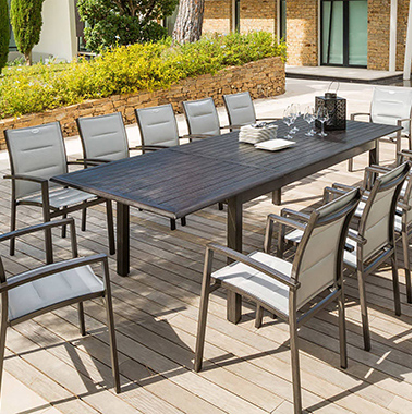 table extensible hesp ride pour jardin et terrasse petit prix. Black Bedroom Furniture Sets. Home Design Ideas