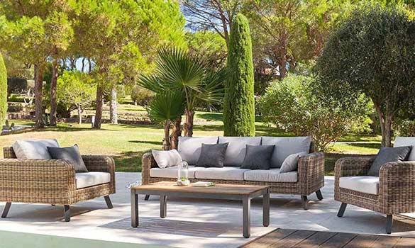 Choisir son salon d 39 ext rieur r sine tress e aluminium - Salon de jardin solde castorama ...