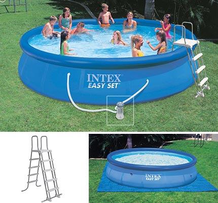 Piscine autoport e intex 4 57 x 0 91 m easy set jardideco for Bache piscine easy set