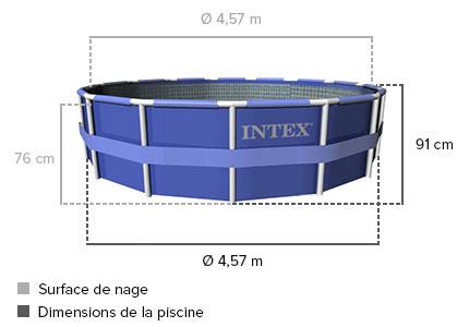 Piscine tubulaire ronde intex metal frame 4 57 x 0 91 m for Piscine intex 4 57 x 0 91