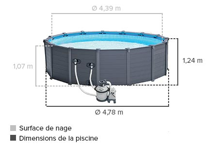 Piscine graphite intex grise x piscine tubulaire for Piscine tubulaire hauteur 1 m