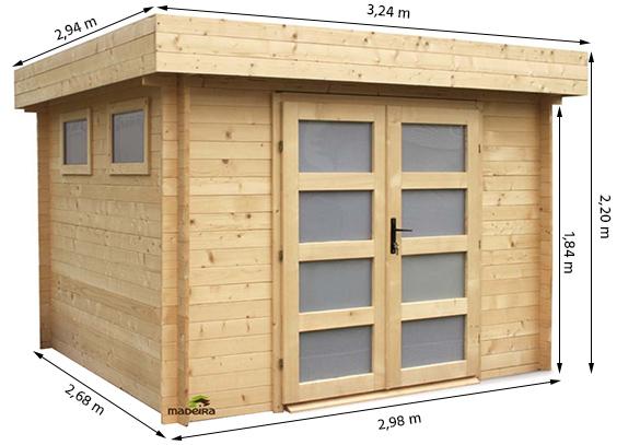 abri de jardin bois madeira mod le kivik 28 mm 8 m. Black Bedroom Furniture Sets. Home Design Ideas