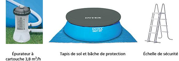 Piscine autoport e intex 4 57 m x h 1 07 m filtration for Accessoire piscine 07