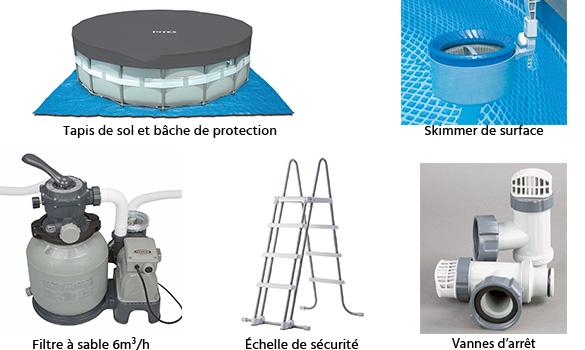 Piscine tubulaire intex ronde 4 88 x 1 22 m eau jardideco for Accessoire piscine vannes