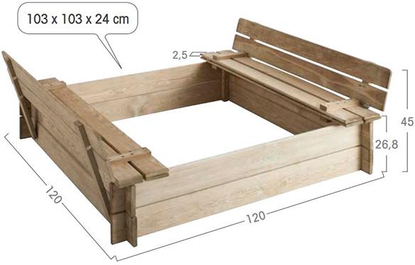 bac sable en bois carr bancs int gr s jardipolys. Black Bedroom Furniture Sets. Home Design Ideas
