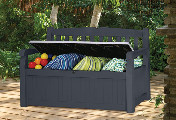banc de jardin avec coffre rangement gris anthracite. Black Bedroom Furniture Sets. Home Design Ideas