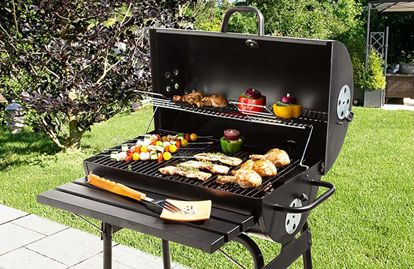 barbecue au charbon de bois baril en acier cardenas. Black Bedroom Furniture Sets. Home Design Ideas