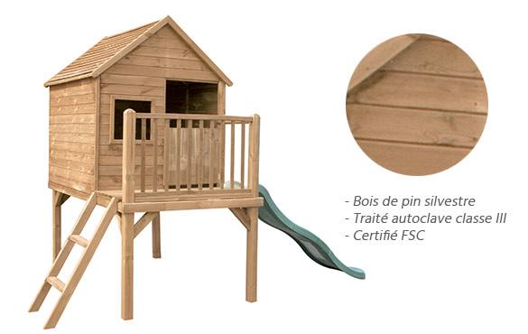Cabane enfant en bois sur pilotis mod le tomi forest style for Cabane de jardin que choisir