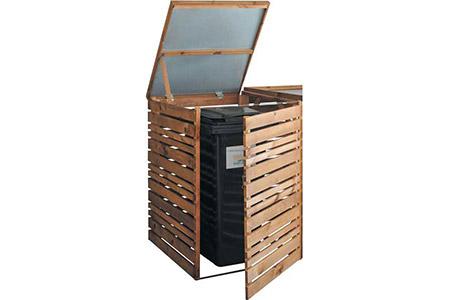 Cache poubelle bois trait autoclave solo jardipolys - Cacher poubelles exterieures ...