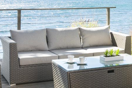 Canapé 3 places salon jardin résine tressée Tasmania | Jardideco