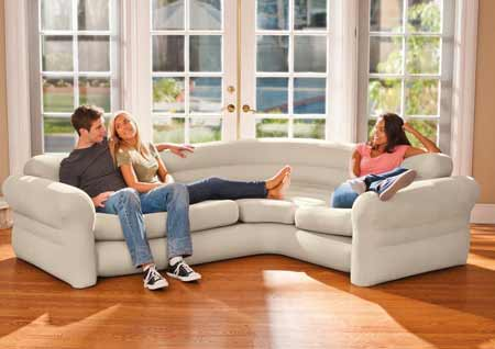 Canap sofa d 39 angle beige gonflable intex jardideco - Canape gonflable intex ...